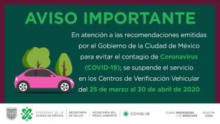Suspende Sedema verificación vehicular hasta el 30 de abril